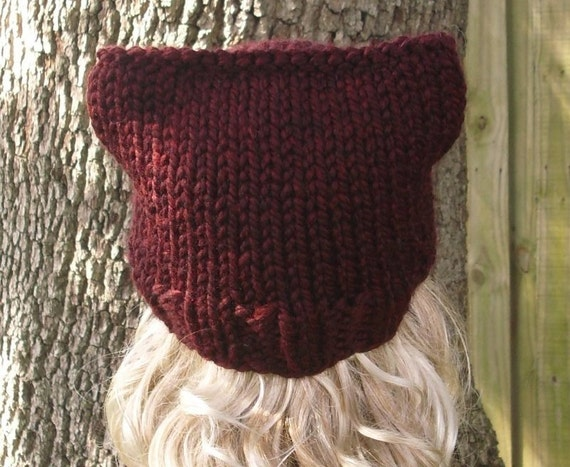 Instant Download Knitting Pattern - Knit Hat Pattern for Cat Beanie Hat Patte...