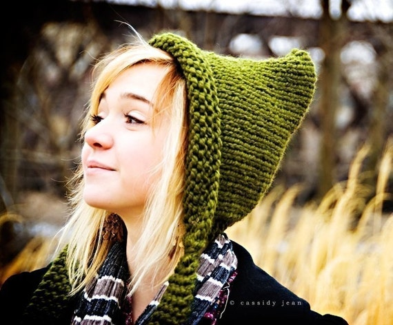 Knit Pixie Hat Pattern : Green Womens Hat Olive Green Pixie Hat Olive Green Thick