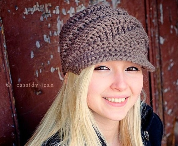 Taupe Knit Hat Taupe Womens Hat - Swirl Beanie with Visor in Taupe Newsboy Hat - Taupe Hat Taupe Beanie Womens Accessories Winter Hat