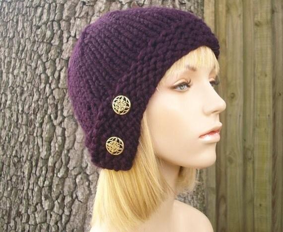 Knit Hat Womens Hat Cloche Hat in Eggplant Purple Knit Hat