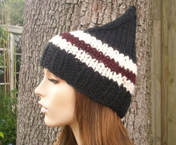 Knit Hat Womens Hat - Gnome Hat in Bah Humbug Black Knit Hat - Black Hat Black Gnome Hat Black Beanie Womens Accessories Winter Hat