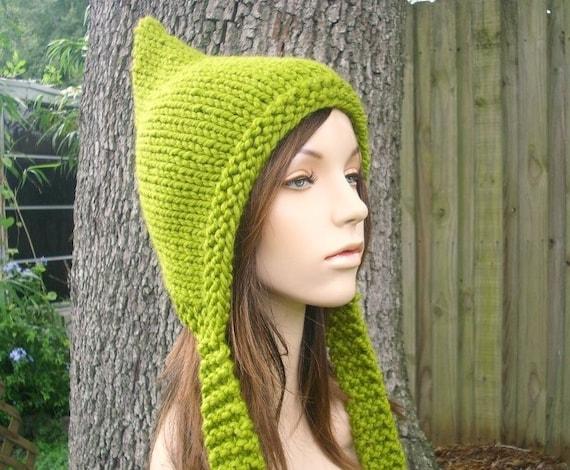 Green Womens Hat - Green Pixie Hat Lemongrass Green Knit Hat - Green Hat Womens Accessories Winter Hat