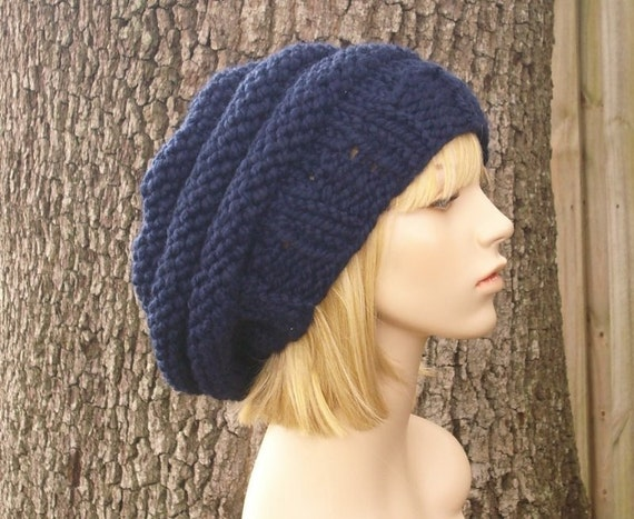 Knit Hat Navy Blue Womens Hat - Original Beehive Beret Hat in Navy Blue Knit Hat - Navy Blue Hat Blue Beret Blue Beanie Womens Accessories
