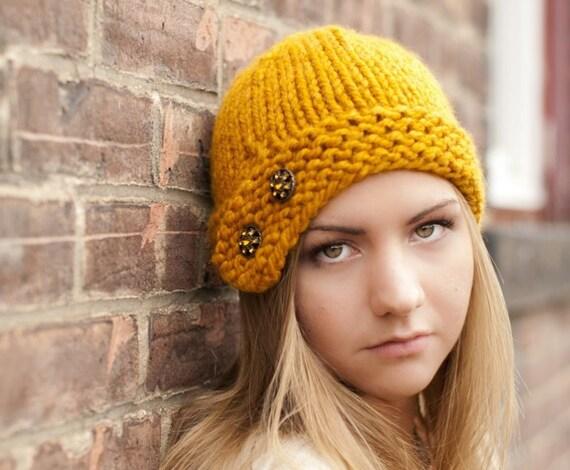 Knit Hat Yellow Womens Hat - Cloche Hat in Mustard Yellow Knit Hat - Yellow Hat Yellow Beanie Mustard Hat Womens Accessories Winter Hat