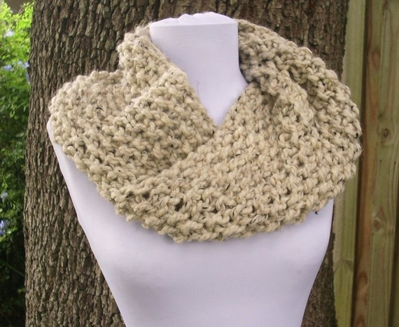 Knit Cowl Oatmeal Womens Cowl Mobius Cowl Scarf in by pixiebell