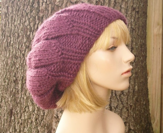 Knit Hat Womens Hat Slouchy Beanie - Oversized Urchin Beret Hat Fig Purple Knit Hat - Purple Beret Purple Hat Womens Accessories