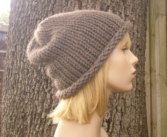Knit Hat Womens Hat - Rolled Brim Beanie Taupe Brown Knit Hat - Taupe Hat Taupe Beanie Brown Hat Brown Beanie Womens Accessories Winter Hat