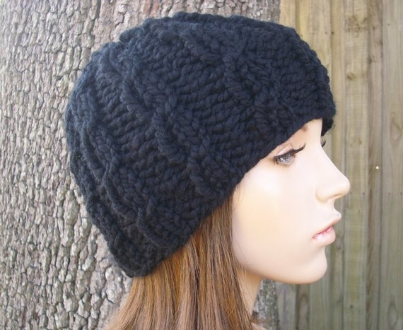 Black Cable Beanie Chunky Knit Hat Black Womens Hat Black Mens Hat - Black Hat Black Beanie Black Cable Hat Womens Accessories Winter Hat