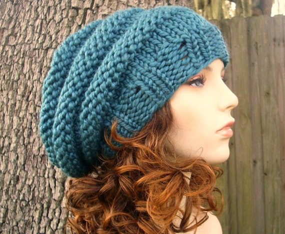 Knit Hat Womens Hat Slouchy Beanie - Oversized Beehive Beret Hat in Teal Blue Knit Hat - Blue Hat Blue Beret Blue Beanie Womens Accessories