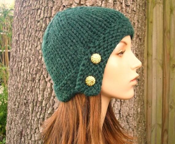 Knit Hat Womens Hat - Cloche Hat in Pine Green Knit Hat - Green Hat Green Beanie Green Cloche Womens Accessories Winter Hat