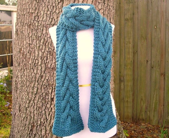 Knit Scarf - Cable Scarf in Teal Blue - Blue Scarf Blue Cable Scarf Blue Knit Scarf Womens Accessories