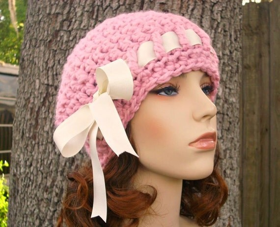 Crochet Hat Pink Womens Hat - Escargot Beret in Pink Crochet Hat - Pink Hat Pink Beret Pink Beanie Womens Accessories
