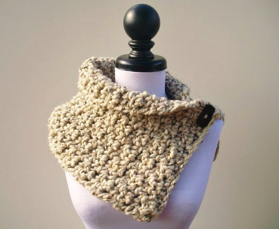 Chunky Scarf Crocheted Cowl Scarf - Lucienne Cowl in Oatmeal - Oatmeal Cowl Oatmeal Scarf Oatmeal Neckwarmer Womens Accessories Fall Fashion
