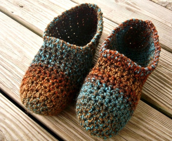 Hand Crocheted Slippers - Crochet Moccasin Slippers in Chocolate Peacock - Womens Size XL 10/11 - Autumn Accessories Fall Fashion