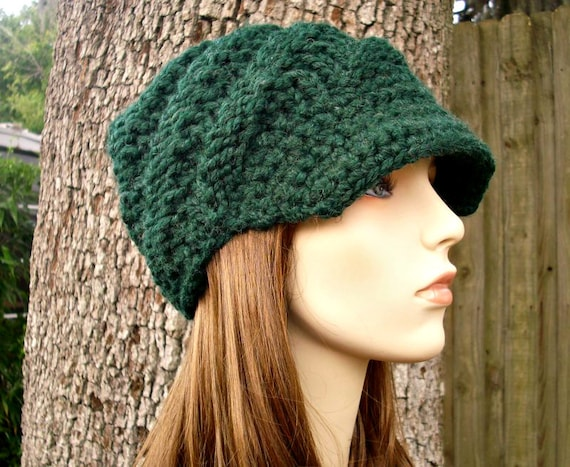 Green Womens Hat Green Newsboy Hat - Swirl Beanie with Visor in Pine Green Knit Hat - Green Hat Womens Accessories - READY TO SHIP