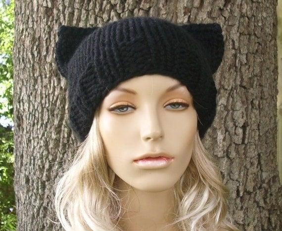 Cat Beanie in Black Licorice