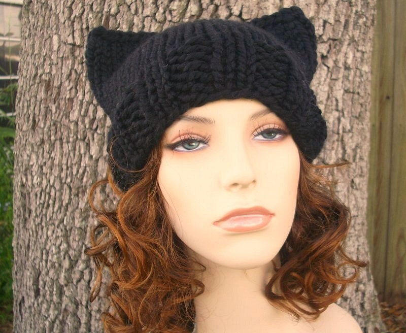 Knitting Pattern For Kitty Hat : Black Knit Hat Womens Hat Black Cat Hat Black Beanie Black
