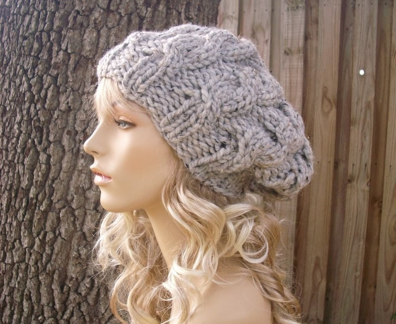 Pattern For Knitting Dishcloth : Knit Hat Grey Womens Hat Slouchy Hat Grey Cable Beret Hat in