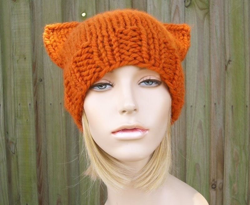 Knitting Pattern For Kitty Hat : Knit Cat Hat