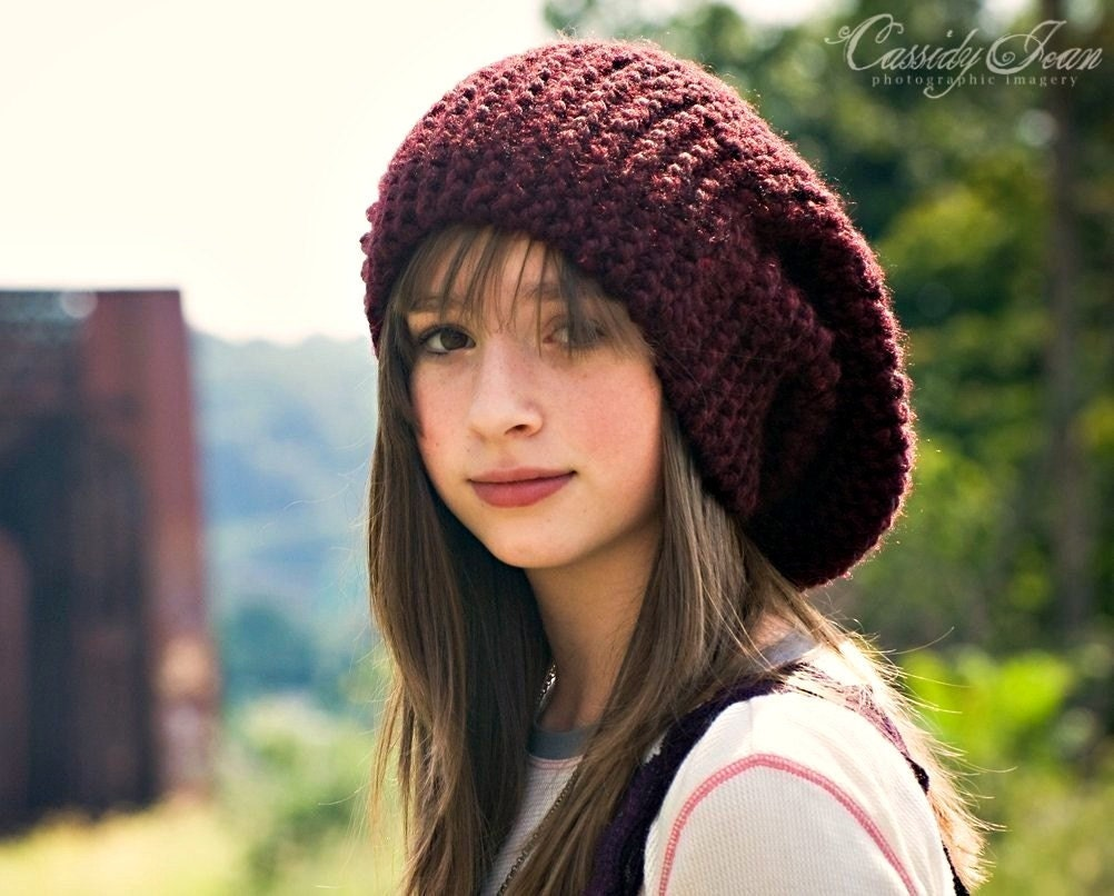 Knit Hat : Knit Hat Womens Hat Slouchy Beanie Slouch Hat in by pixiebell