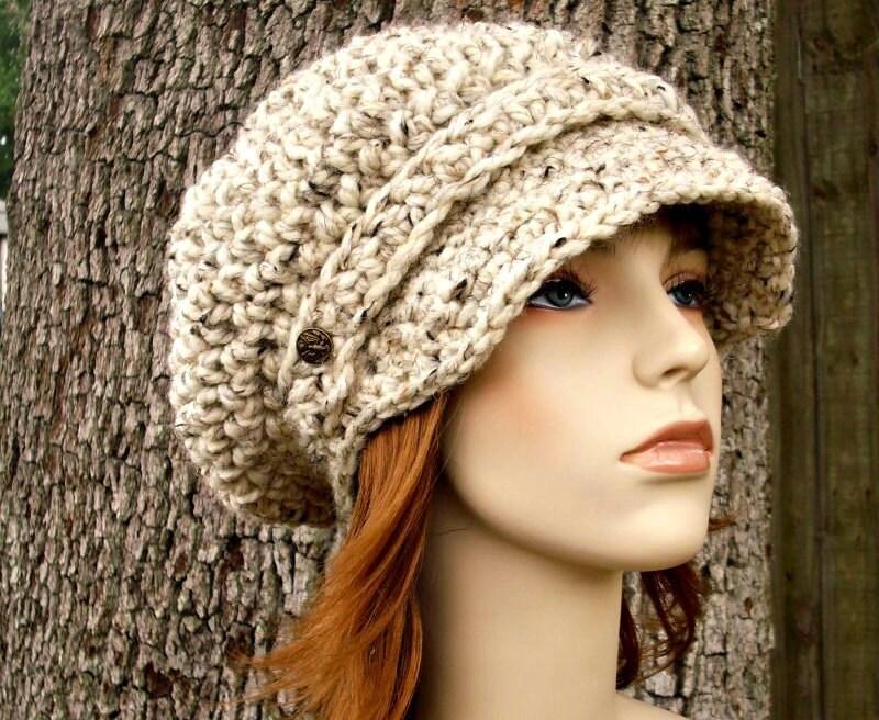 Crochet Hat Womens Hat Oatmeal Newsboy Hat Slouchy Hat