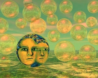 Digital Painting - Consciousness - Gold and Green Awakening - 8x10 Fine Art Print