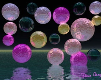 Painting (Digital): Night Jewels - Magenta and Black Brilliance - Art Card, ACEO