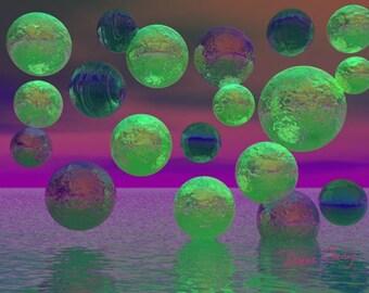 Plum Sky - ACEO, Green, Violet, Purple Night Sky