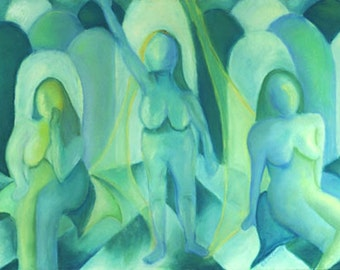 Pastel Painting: Reflections in Blue III - Teal & Cyan Angels - Art Card, ACEO Edition