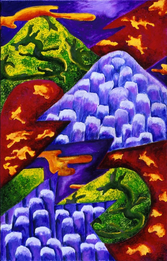 Painting: Hobbitland - Green Dragons & Blue Ice Mountains - Matted 5x7 Fine Art Print