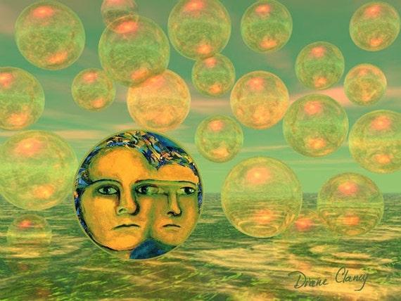 Digital Painting - Consciousness - Gold and Green Awakening - 8x10 Fine Art Print