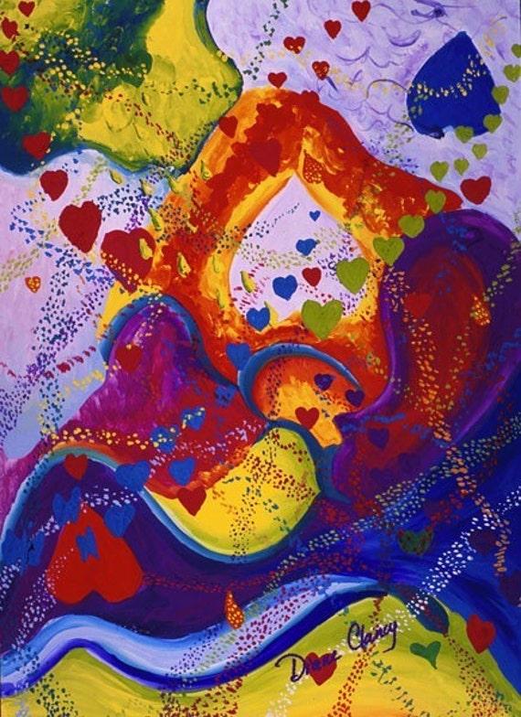 Painting: Underground - Crimson & Iris Hearts - Art Card, ACEO Edition