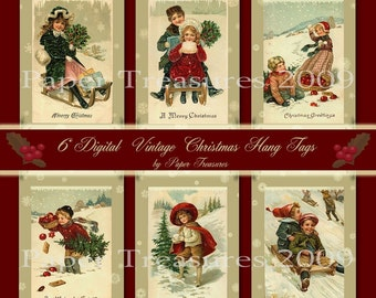 Vintage Christmas Digital Hang Tag Sheet