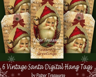 6 Vintage Santa Digital Hang Tags