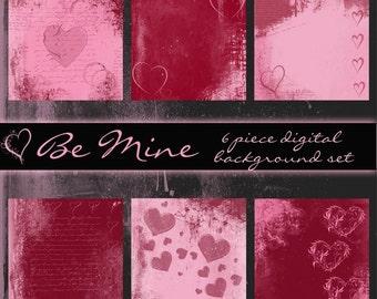 Be Mine Digital Valentine Background Set