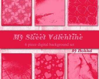 My Sweet Valentine Digital Background Set