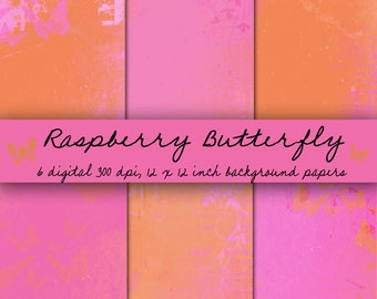 Raspberry Butterfly Digital Background Set