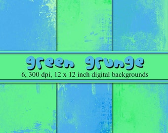 Green Grunge Digital Background Set