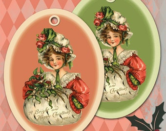 Vintage Lady Christmas Digital Hang Tags