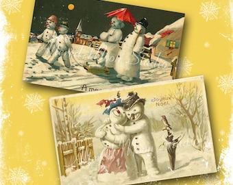 Vintage Snowman Collage Sheet