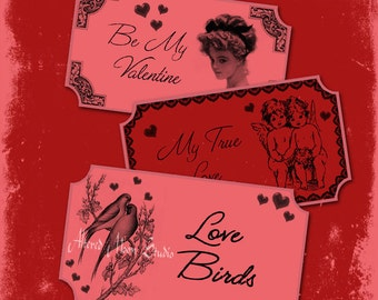 Digital Valentine Tickets Collage Sheet