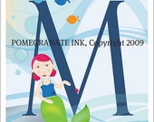 Alphabet Mermaid Print 8 x 10  Letter M