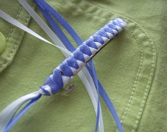 Braided Ribbon Barrette / Country Blue and White