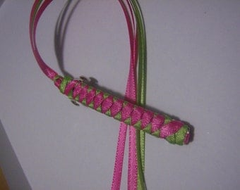Braided Ribbon Barrette /  Hot Pink and Lime Green