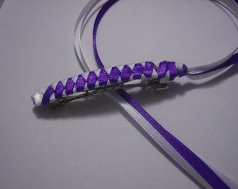Braided Ribbon Barrette / Purple and White