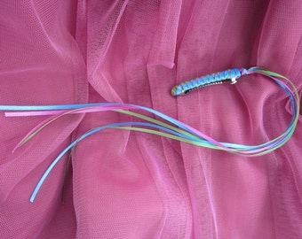 Braided Ribbon Barrette / Lime Green, Turquoise and Hot Pink