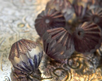 Lilac Tutu (12) -Czech Glass Fluted Bicones 9mm