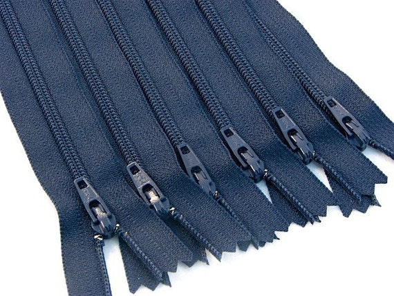 7 Inch Black Zippers, Qty. of 6