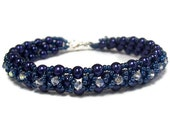 Beaded Swarovski and Pearl bracelet in Navy Blue and Crystal