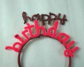 Custom Happy Birthday Headband -- will be red & blue